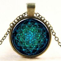 Green Lover Gifts Flower Of Life Necklace Necklace Jewelry Mandala Pendant
