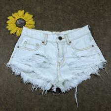 Bullhead Womens High Rise Mini Shorts Sz 1 Cotton Distressed White Denim gs3408