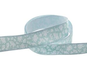 COTTON FLORAL RIBBON ROLL FLOWERS BABY BLUE 25mm wide x 10m long craft fabric