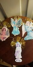 4 PAPER AND TINSEL ANGEL CHRISTMAS ORNAMENTS