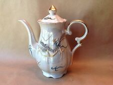 Coffee Pot Teapot Pitcher Pearl Lusterware Dragon Dragonware Gray Teal Blue Gold