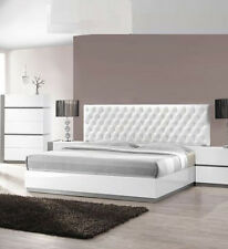 Eastern King Size Bed White Lacquer Finish Modern Design Bedroom Furniture