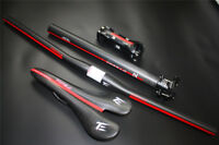 3k finish Carbon Fiber MTB Bike Handlebar+Bicycle Stem+Carbon seatpost+saddle