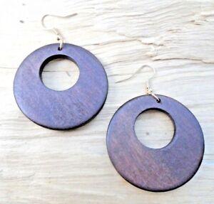 Wooden Disc Circle Cutout Dark Brown Hook Earrings 4.5cms Diameter NEW