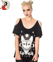 BANNED ALTERNATIVE TALULA TOP sphynx cat cut out goth BLACK TEE