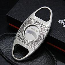 LUBINSKI Vintage Silver Handle Stainless Steel Dual Blades Cigar Cutter COHIBA