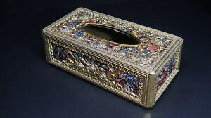 Vintage Hollywood Regency Gold  Plastic Tissue Box Cover Floral