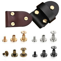 10Set Flat Head Rivets Copper Rivets Belt Leather Screws Leather Double Cap Tool