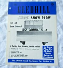 Gledhill Jeep snow plow specification sheet brochure