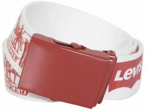 Levi's Men's Web Fabric Belt Logo Print White/Red (One Size Fits Most)