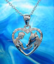 Anhänger Pferd und Mädchen in Herz weiße Kristalle und Kette Sterling Silber 925