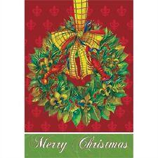 MERRY CHRISTMAS FLEUR DE LIS WREATH GARDEN FLAG