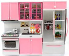 Kids Battery Operated Dollhouse Kitchen Playset Refrigerator Stove Pink PS10P