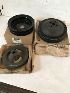 409 CHEVY IMPALA POWER STEERING CRANKSHAFT WATER PUMP DEEP GROOVE PULLEY SET NOS