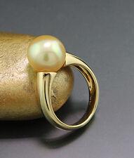 Anello Perla mare del sud colori dorati 11,3 mm delicato lucente Oro Giallo 750