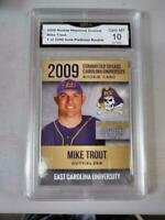 $-100- Mike Trout Rc 2009 GMA GRADED 10 ONLY COLLEGE ROOKIE CARD EVER PRINTED.