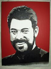 Canvas Painting Star Trek Jonathan Frakes as Riker B&W Art 16x12 inch Acrylic