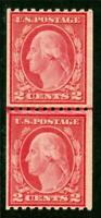 USA 1916 Washington 2¢ Perf 10 Horz Coil Type II  Unwmk Scott 487 MNH K334