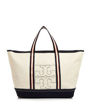 Tory Burch Large Bombe-t Canvas BeachTote Handbag Natural Beige