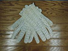 Vintage Stretch Gloves Ivory Crocheted Estate Item