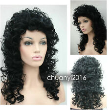 Fashion Women lady Medium long black Curly Cosplay party Hair wigs + wig Cap