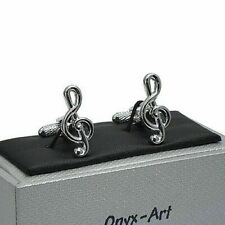 Treble Clef Musical Note Cufflinks In Gift Box Onyx art GMC61 mens novelty gift