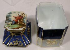 N128 Antique Old Paris Porcelain Hand Painted Chinoiserie Tea Caddy Covered Jar