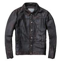 Men's Cowhide Leather Jacket Retro style Lapel Single Breasted Amekaji Jacket L