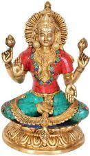 "JAI Lakshmi Seat Blessing God Statue 9"" Golden Brass Stone Art India Hindu 3.4KG"