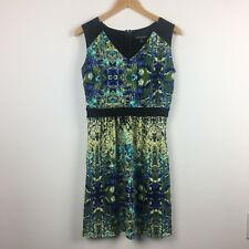 Cynthia Rowley Dress - Size 8 - Stretch Knit Watercolor Print Exposed Zipper