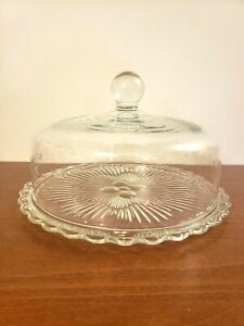 Princess House Etched Glass Heritage Pie/Cake Plate WITH Dome Cover #068 - Rare!