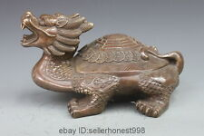 Chinese Folk Copper Bronze Feng Shui Wealth Coin Dragon Turtle tortoise Statue