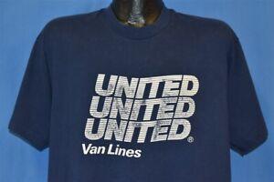 vtg 90s UNITED VAN LINES MOVING COMPANY PROMO LOGO SCREEN STARS BLUE t-shirt XL