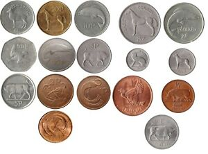 IRELAND IRISH DECIMAL COIN COLLECTION  DECIMAL AND PREDECIMAL 17 COINS