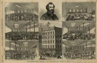Yates's Mammoth Clothing Store Syracuse NY 1862 Civil War Leslie's old print