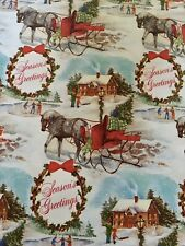 New ListingVtg Christmas Wrapping Paper Gift Wrap 1960 Nos Seasons Greetings Sleigh