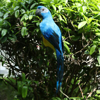 Artificial Bird Feather Realistic Home Garden Decor Ornament Parrot Blue