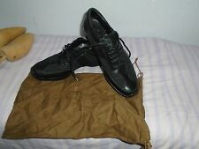 WOMENS GUCCI MADE IN ITALY BLACK LEATHER/TEXTILE LACE SHOES SIZE 37.5