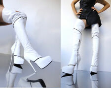 CQ COUTURE PLATAFORMA CREMALLERA OVERKNEE BOOTS STIEFEL BOTAS LEATHER BLANCO 42