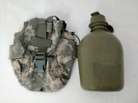 US Military Canteen Pouch MOLLE with 1 Quart OD Green Canteen, Used Surplus