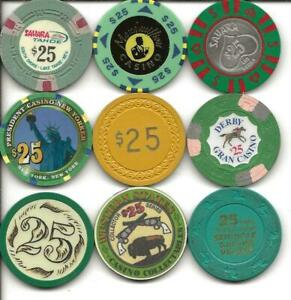 Collection Of 9 Different $25 Casino Chips From Various Venues-Nice Lot