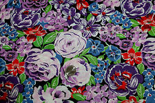 1 Yd Lg Floral Blue Lav & Purple Flowers 100% Cotton Fabric Sewing Craft Hobby