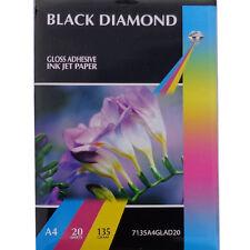 Black Diamond Gloss Adhesive A4 Professional Grade Photo Paper 135gsm 20 Sheets