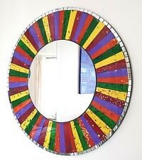 Round rainbow section mosaic wall mirror 60cm-hand made in Bali-NEW