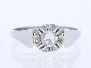 antiker Verlobung Ring 0,15 Karat Solitaire Diamant 750 Weiss Gold 18 Karat