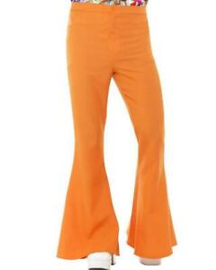 60'S Flared Trousers - Orange 1960s Flares Smiffys Disco Hippie Pants