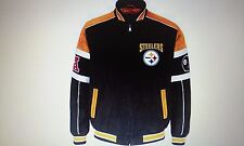 Pittsburgh Steelers Officially Licensed NFL Color Block Suede Jacket - L