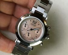 CARTIER PASHA PINK MOP DIAL 2412 CHRONOGRAPH AUTOMATIC 35mm STEEL WATCH FOR LADY