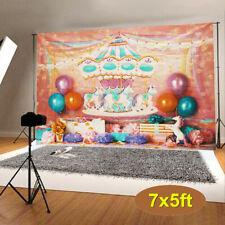 Unicorn Carousel Wall Vinyl Photography Background Studio Photo Props Backdrops