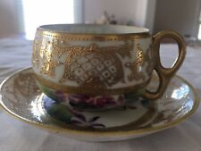 ANTIQUE UNMARKED NIPPON HAND PAINTED CUP and SAUCER VIOLETS and GOLD DETAILS